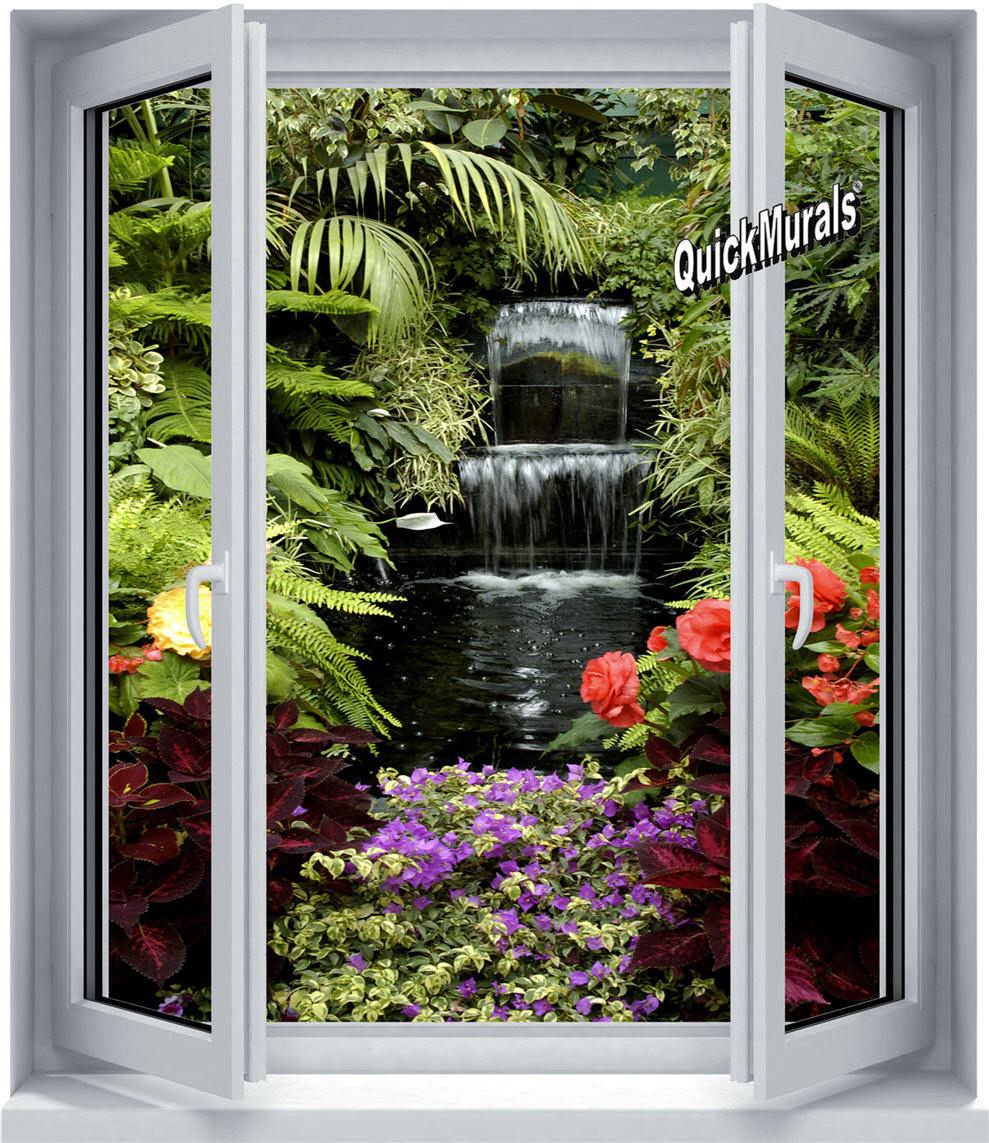 Floral waterfall window 1 piece canvas peel stick wall floral waterfall window 1 piece canvas peel stick wall mural amipublicfo Image collections