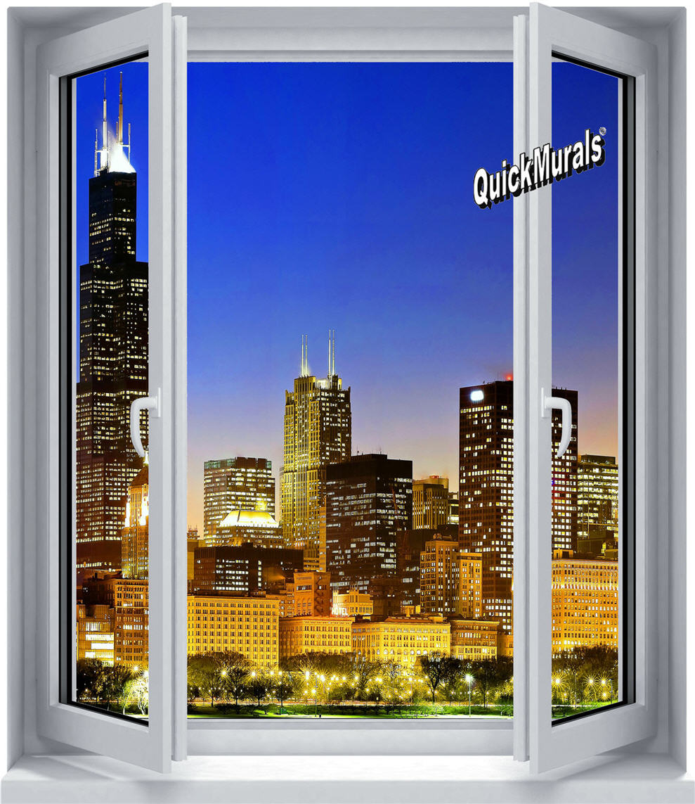 28 cityscape window 1 peel amp canvas wall murals for Cityscape wall mural