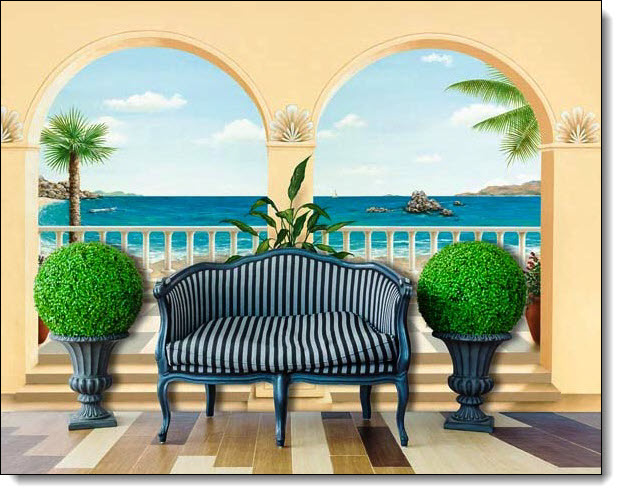 trompe l 39 oeil terrasse provencale wall mural 103. Black Bedroom Furniture Sets. Home Design Ideas