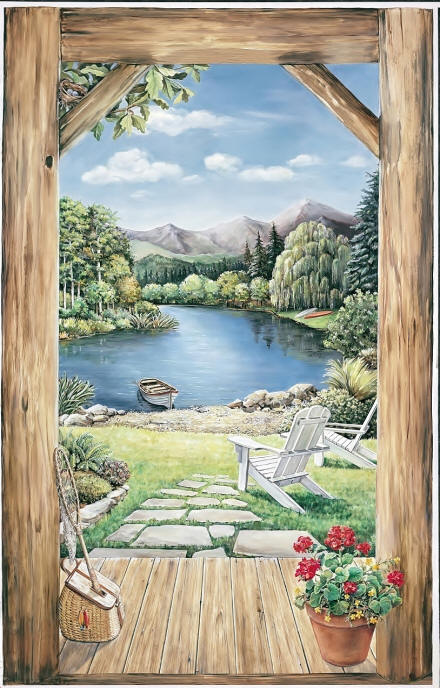 lakeside view doorway mural lm8989m. Black Bedroom Furniture Sets. Home Design Ideas