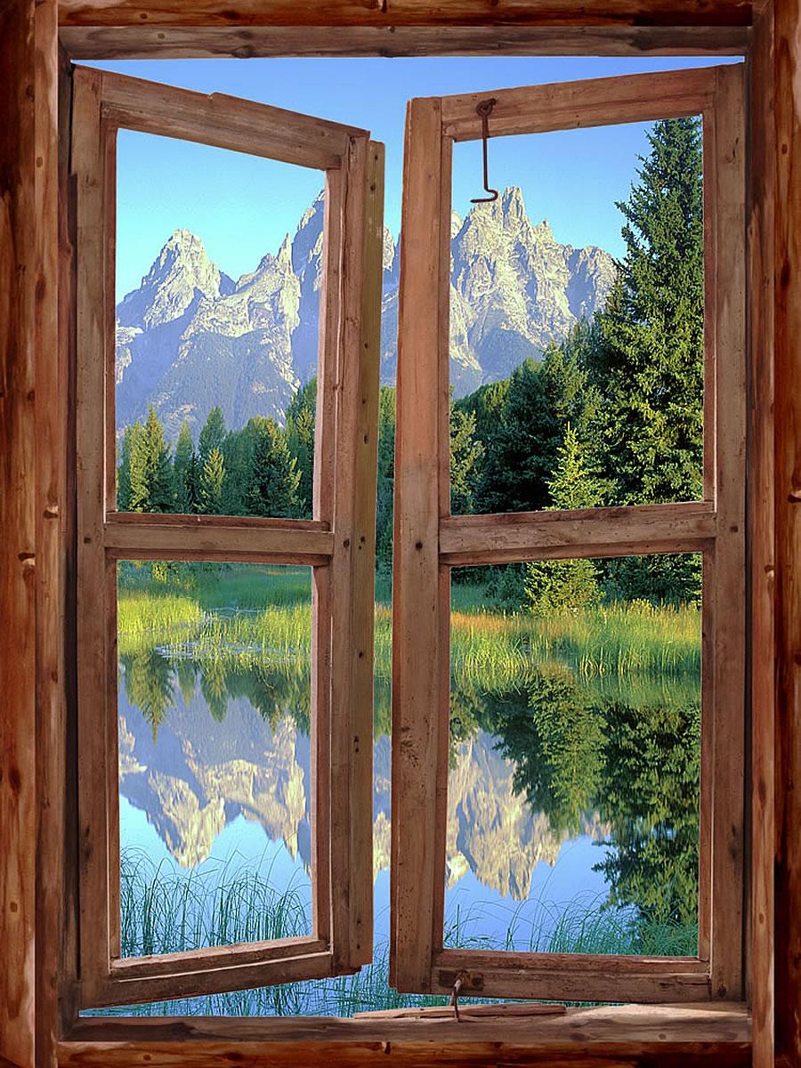 Mountain cabin window wall mural for Log cabin window