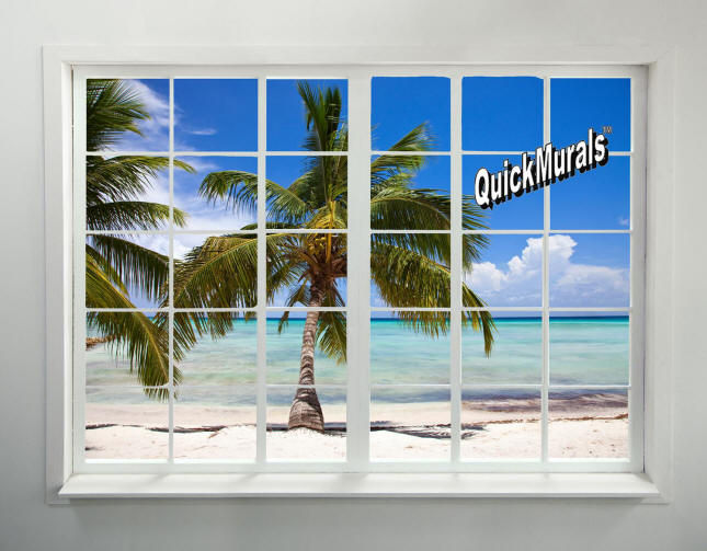 Palm beach window wall mural for Beach window mural