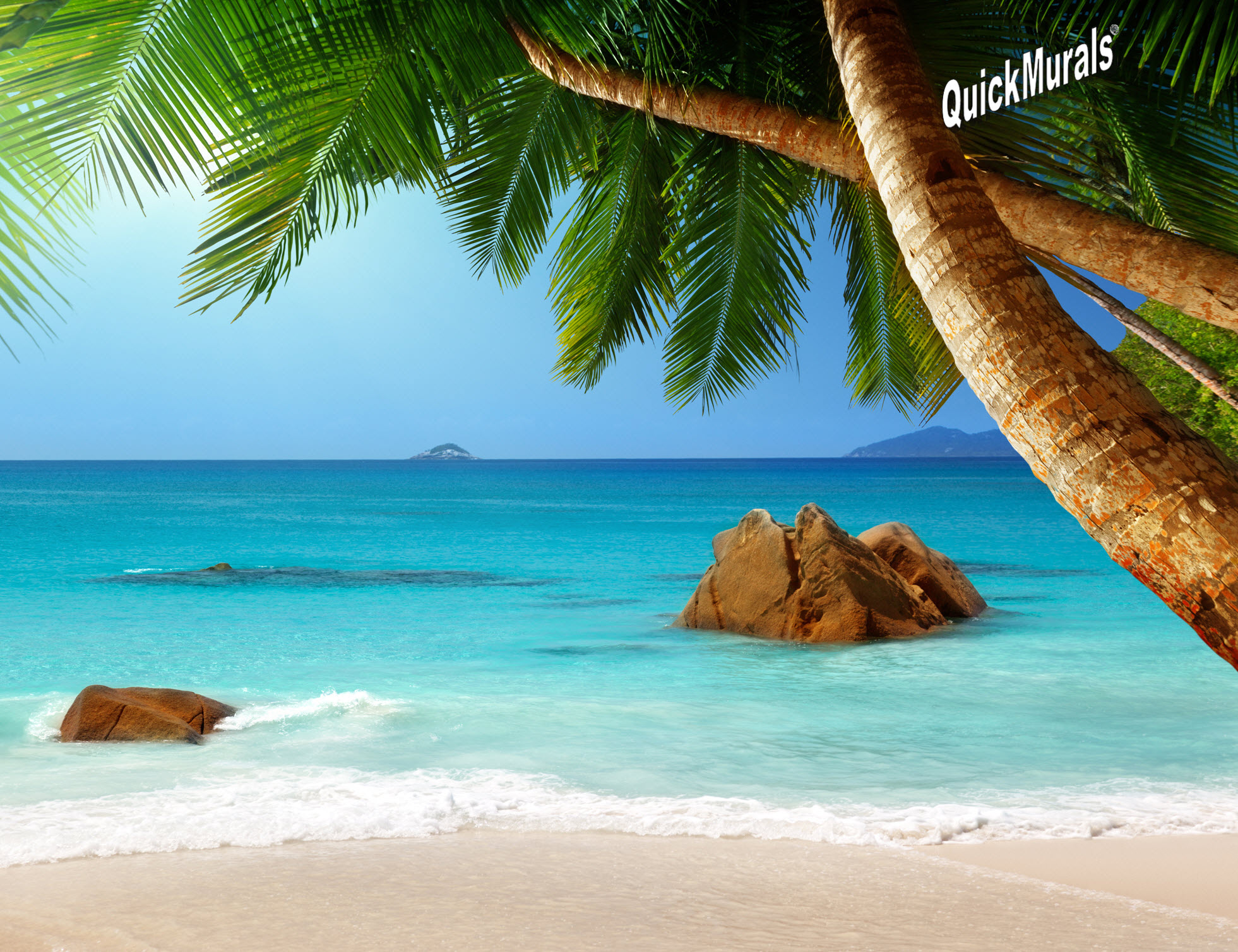 Tropical beach wall murals hot girls wallpaper for Beach mural wallpaper