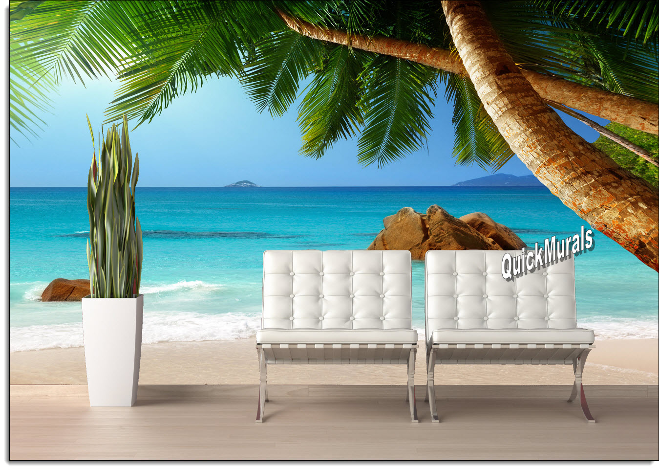 Secluded Beach Peel U0026 Stick Canvas Wall Mural