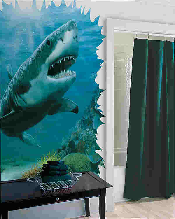 shark 258 75020 mural great white shark mural wallpaper amp border wallpaper
