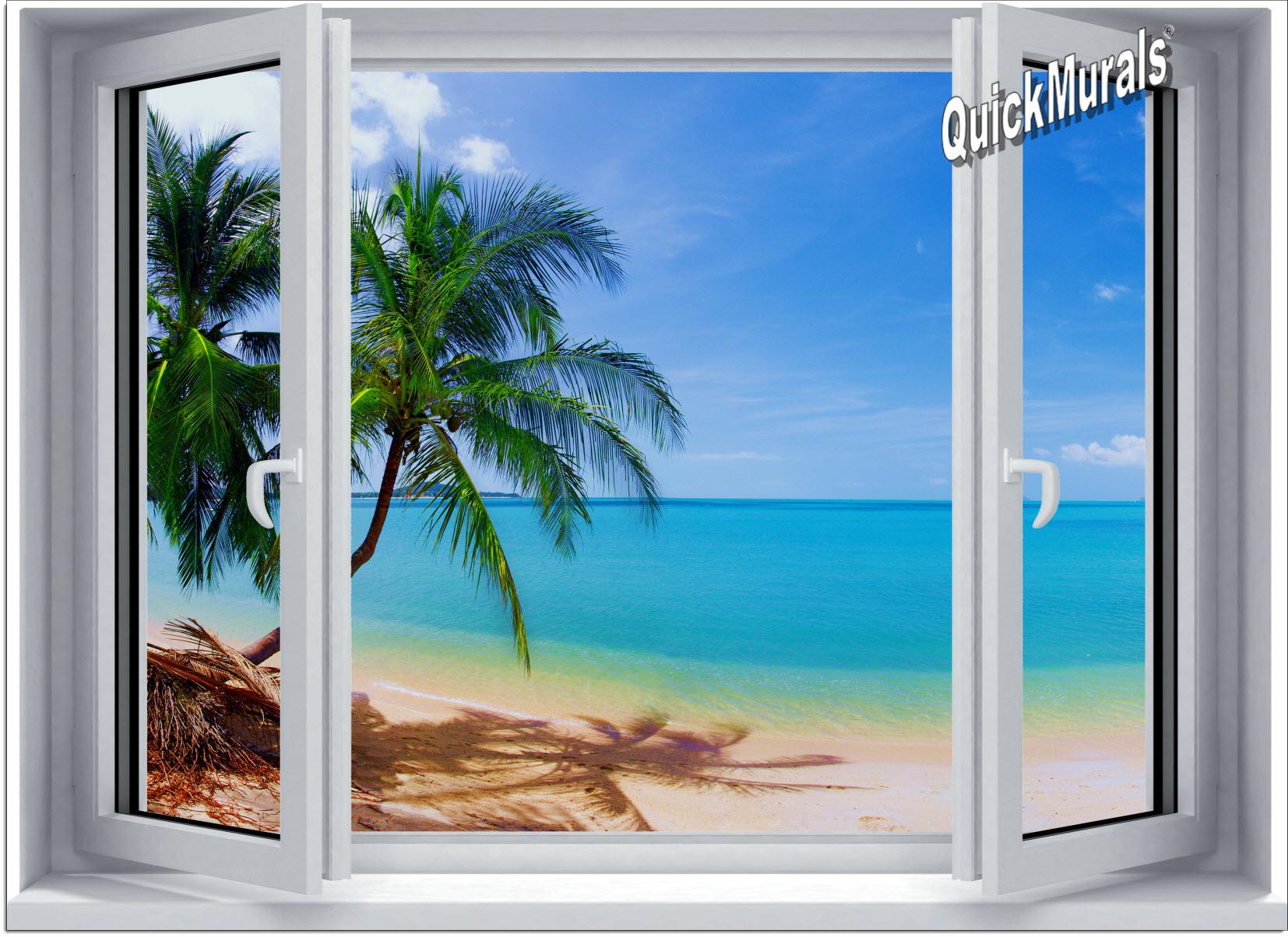 Tropical Beach Window 1 One Piece Canvas Peel Amp Stick