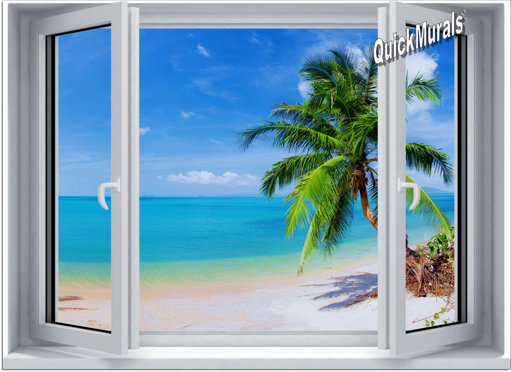 Tropical Beach Window 2 One Piece Canvas Peel Stick Wall Mural