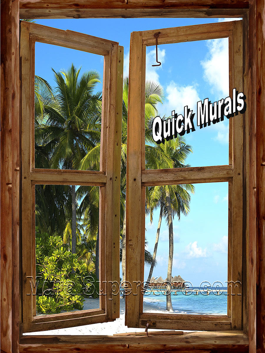 Beach Cabin Window Wall Mural