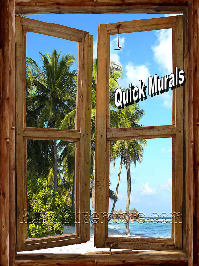 beach cabin window wall mural secluded beach window 1 piece canvas peel amp stick wall mural