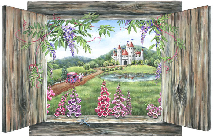 Carriage and castle mural for Castle window mural