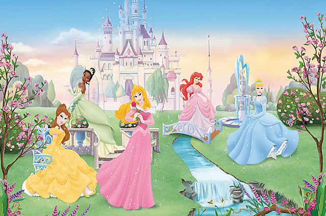 Disney dancing princess wall mural by roommates for Disney princess wall mural
