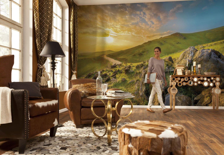 Wonderful Wallpaper Mountain Mural - mountain-morning-8-525-roomsetting  Best Photo Reference_707989.jpg