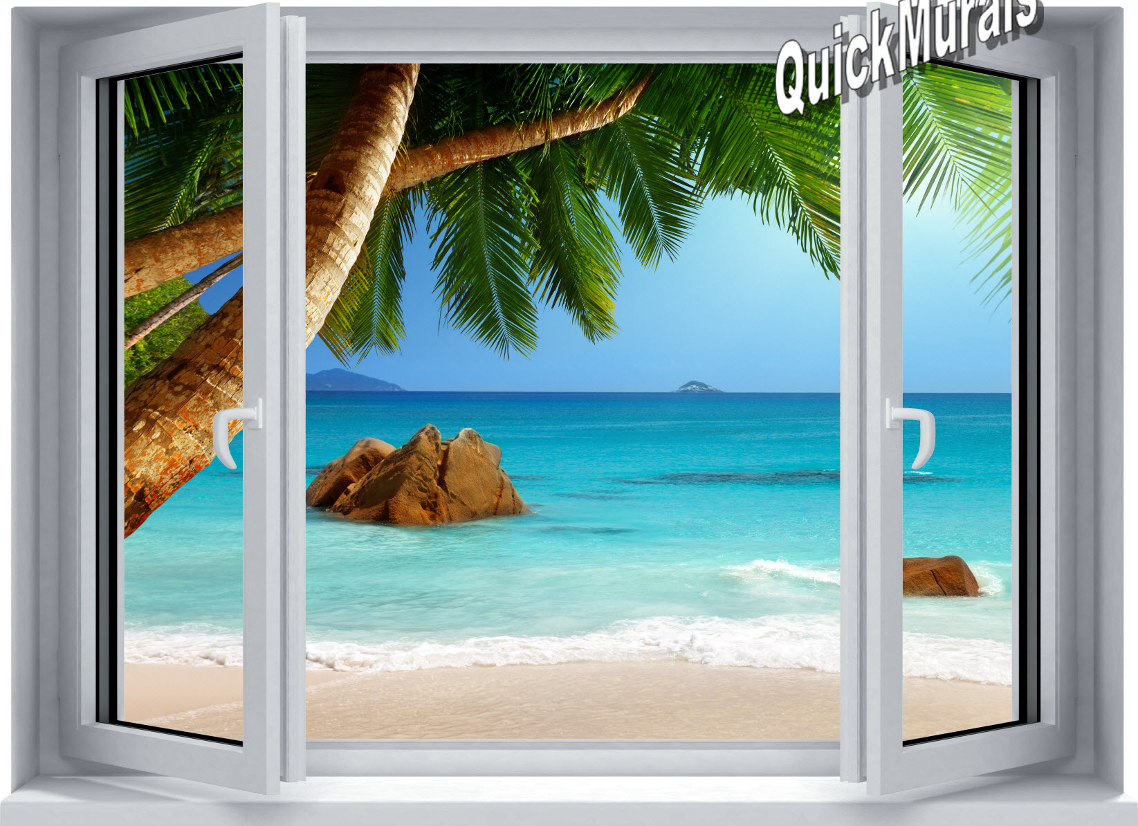 secluded beach window 1 piece canvas peel stick wall mural