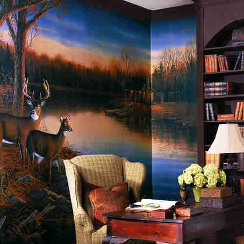 Wet Room Wall Panels >> RA0169M Deer (Tranquil Evening) Wall Mural by York