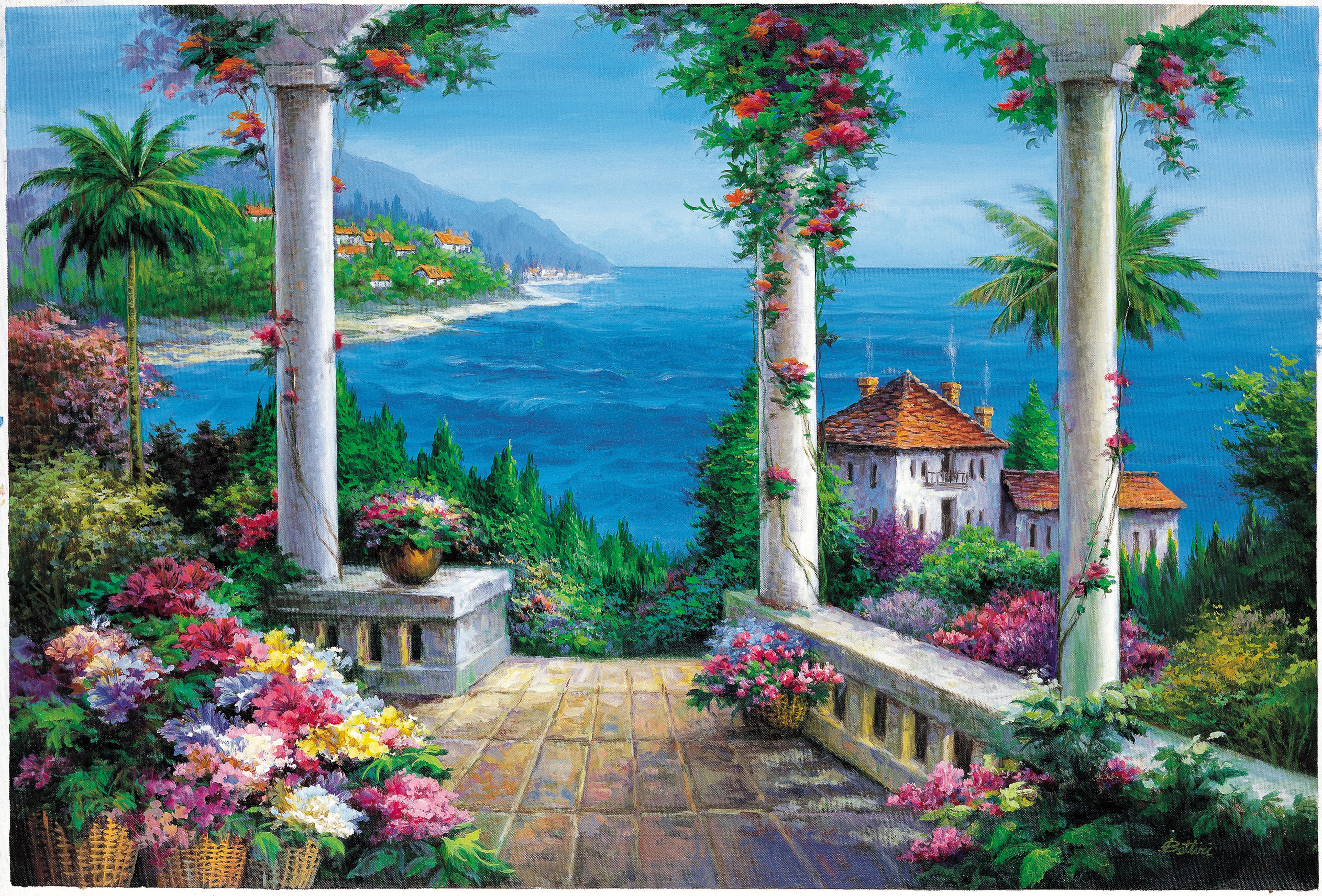 Floral Patio Pr1812 Wall Mural