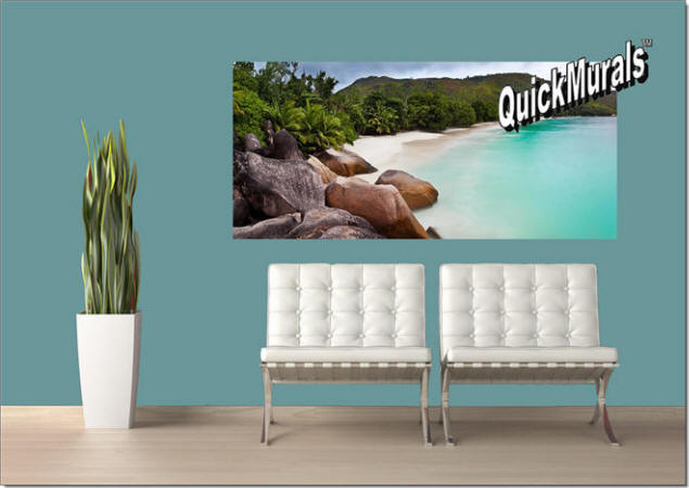 Barbados Island Beach Peel & Stick Wall Mural Roomsetting