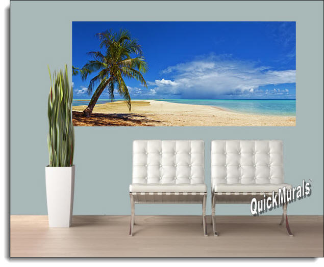 Basua Beach Peel & Stick Canvas Wall Mural Roomsetting