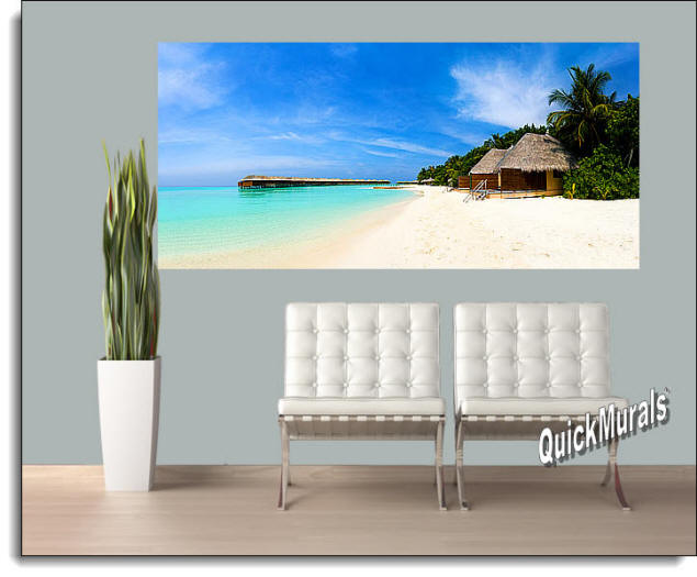 Tiki Resort Peel And Stick Wall Mural Roomsetting