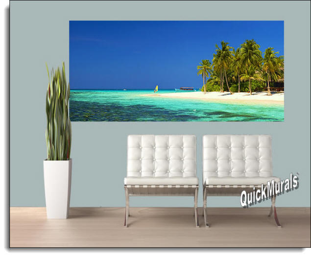 Cook Island Panoramic Wall Mural Roomsetting