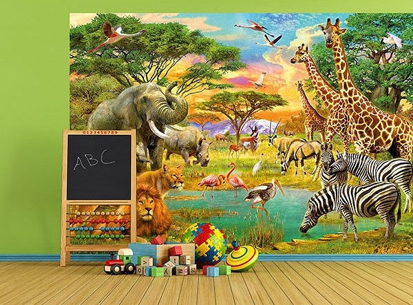 On Safari Wall Mural DM154 by Ideal Decor Roomsetting