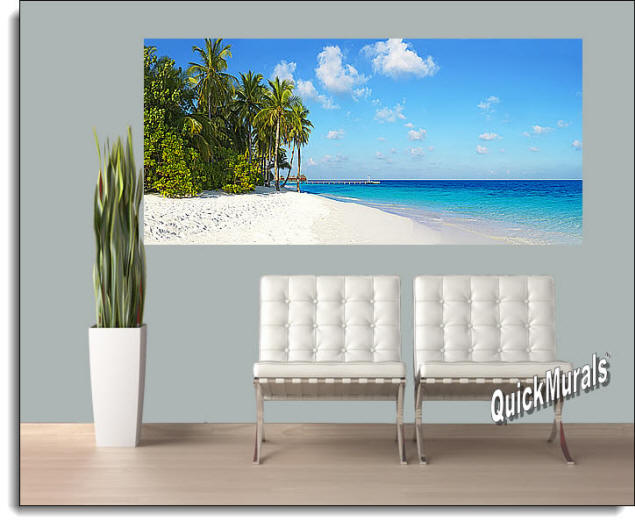 Cook Island Panoramic Peel & Stick Wall Mural Roomsetting