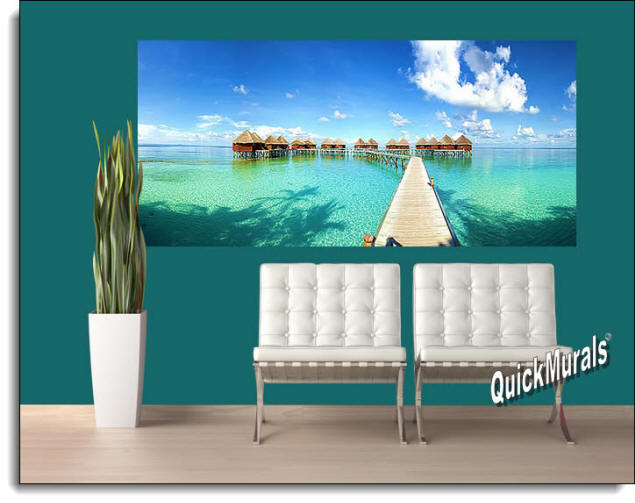 Maldives Beach Resort Wall Mural Roomsetting