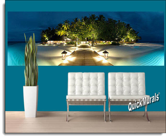 Mirihi Island at Night Panoramic Peel & Stick Wall Mural Roomsetting