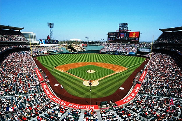 La angels of anahiem angel stadium for Baseball stadium mural wallpaper