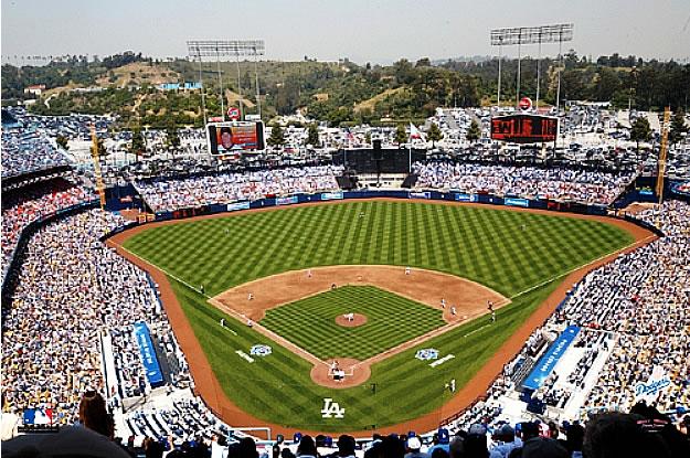 Los angeles dodgers dodger stadium wall mural for Baseball stadium mural wallpaper