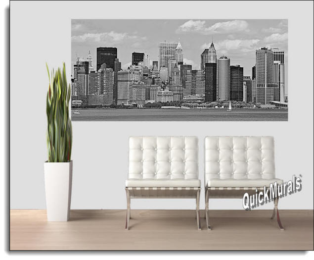 NYC Panoramic (B & W) Peel & Stick Canvas Wall Mural Roomsetting
