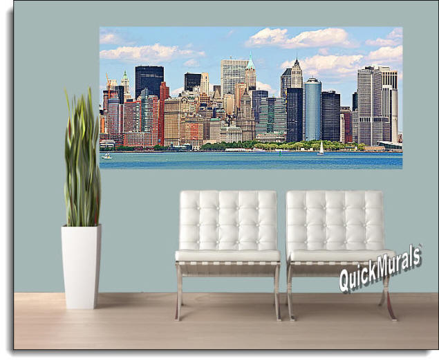 NYC Panoramic (Color) Peel & Stick Canvas Wall Mural Roomsetting