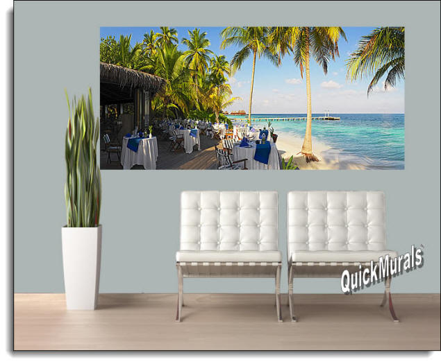 Oceanside Cafe Panoramic Peel & Stick Wall Mural Roomsetting