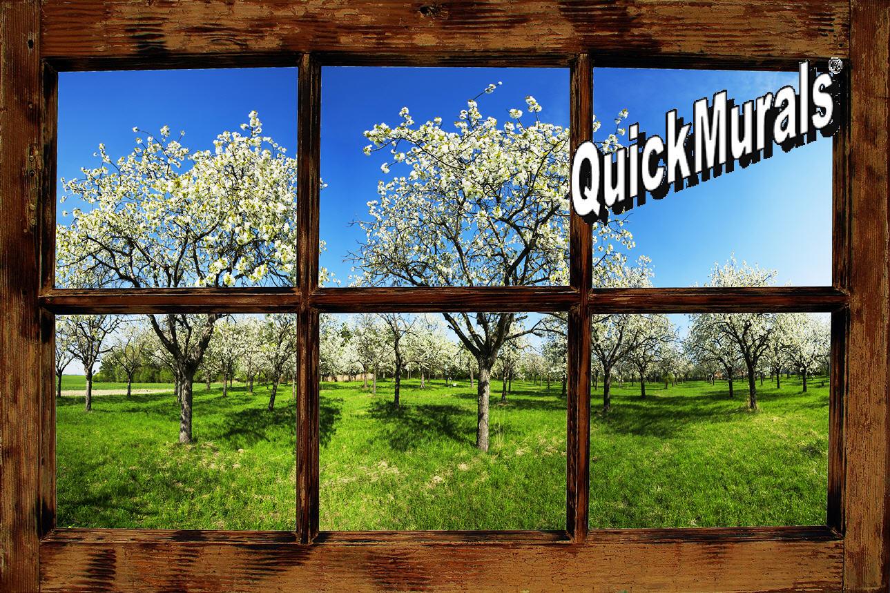 Orchard Window Rustic Wall Mural