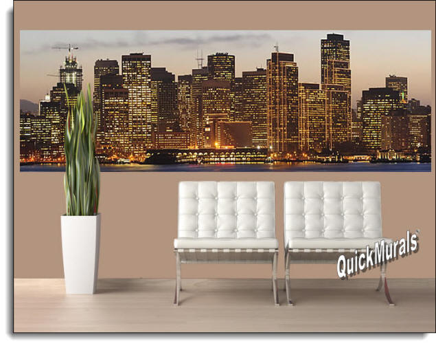 San Francisco Sunset Peel & Stick Wall Mural Roomsetting