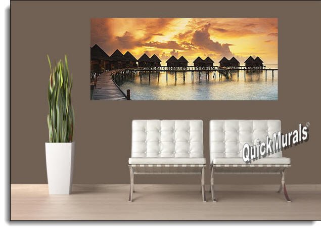 Tiki Resort Sunset Peel And Stick Wall Mural Roomsetting