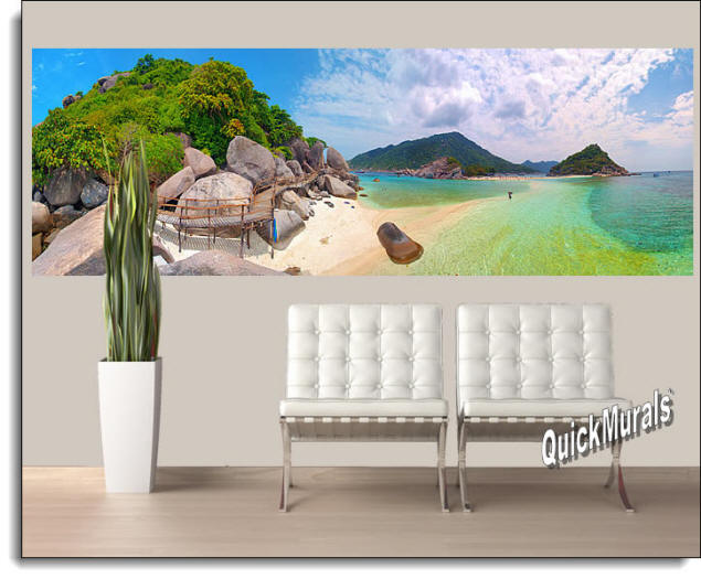 Tropical Beach Resort Peel And Stick Wall Mural Roomsetting
