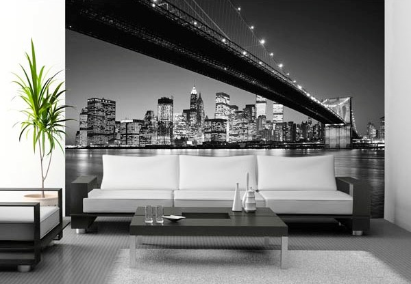 Brooklyn Bridge Wall Mural WG140 by Ideal Decor Roomsetting