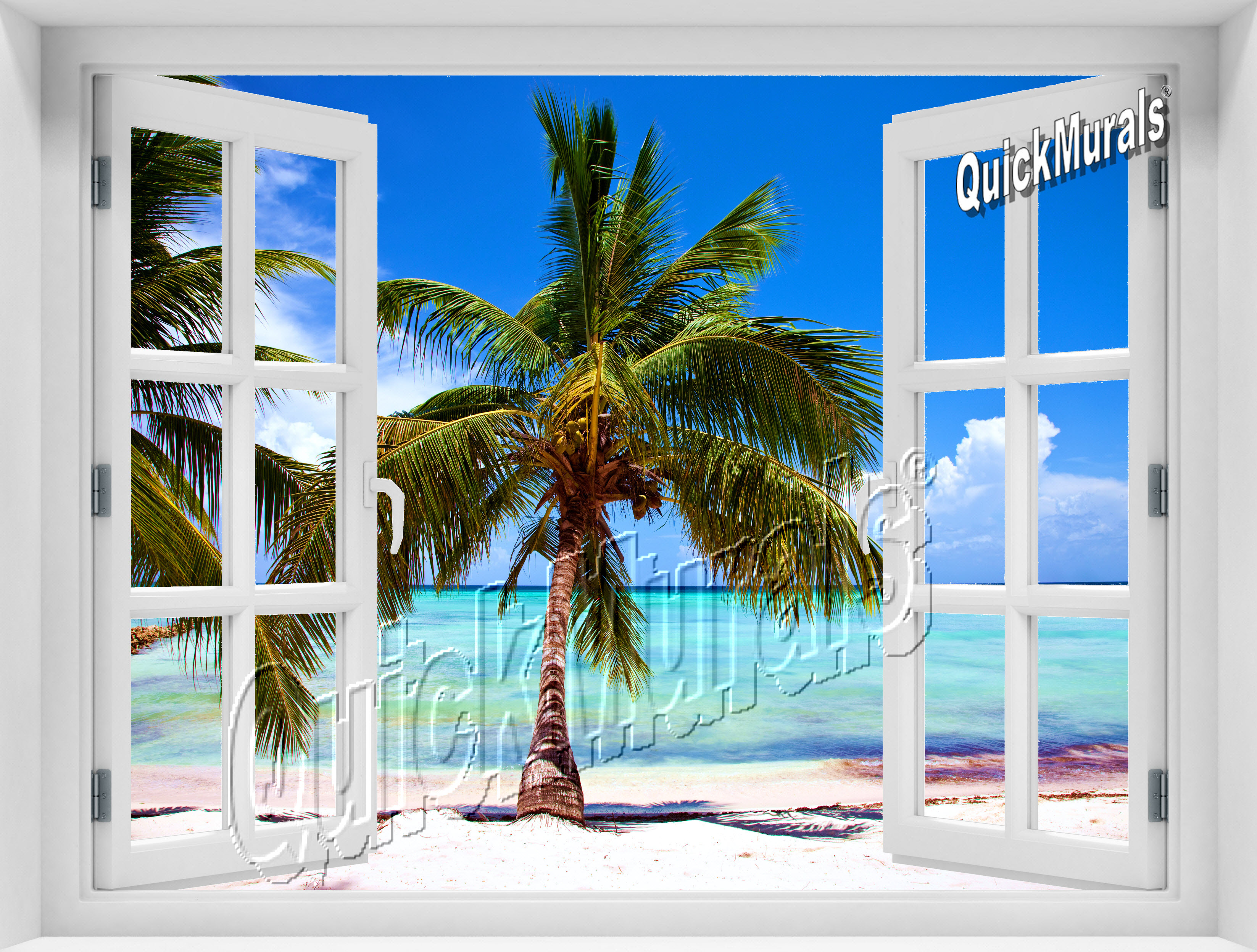 Tropical beach window for Beach window mural