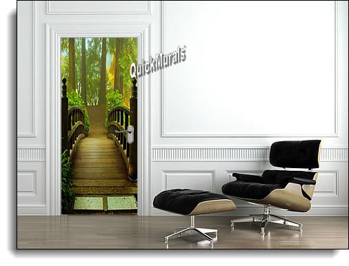 Merveilleux Hidden Forest Door Mural Roomsetting