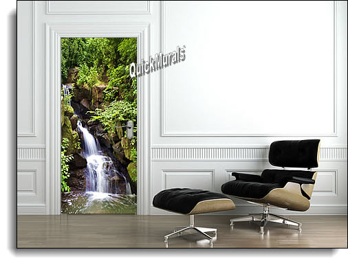 Spring Waterfall Door Mural Roomsetting