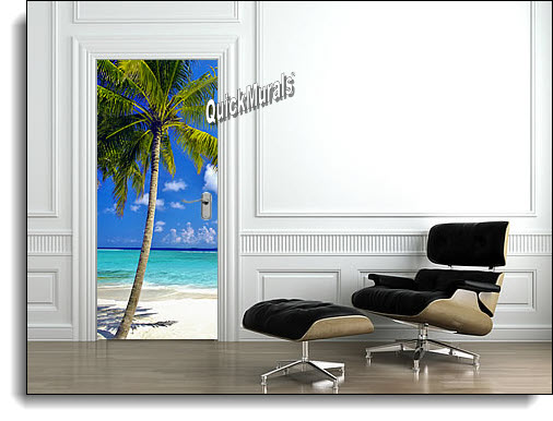 Tropical Palm Door Mural Roomsetting