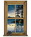 Log Cabin Window wallpaper wall mural