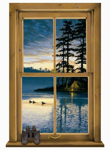 Log cabin window mural wg0445m for Log cabin window